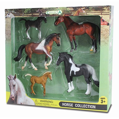 Kelley 5pc Box Set - 2 Pinto Horses, Bay Horse, Black Foal & Chestnut Foal