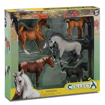 Kelley 5pc Box Set, Appaloosa, Chestnut & Grey Horses, Palomino & Black Foals