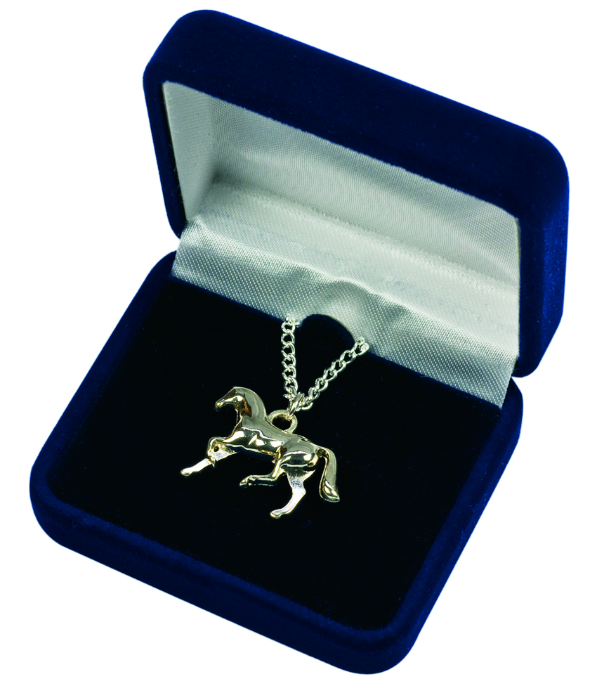 Necklace, cantering horse in velvet box