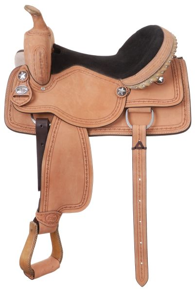 King Series Cowboy Saddle with Barbwire Tooling