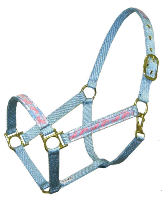 Ronmar Nylon Halter - Leather Crown/Double Buckle - Paisley On Stripes