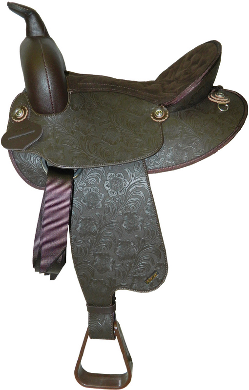 Wintec Youth Synthetic Leather Floral Western Saddle