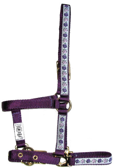 Ronmar Nylon Halter - Leather Crown/Double Buckle - Purple Flowers