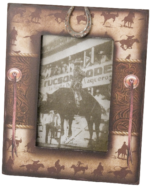 Western Cowboy Picture Frame with Horseshoe