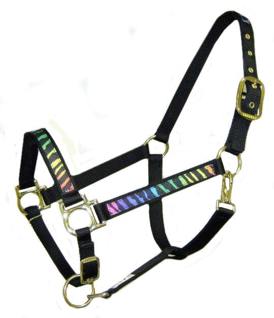 Ronmar Nylon Halter with Snap - Leather Crown/Double Buckle - Rainbow Tiger