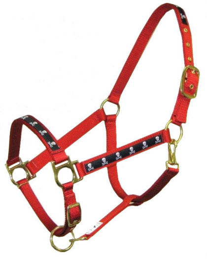 Ronmar Nylon Halter - Leather Crown/Double Buckle - Black Skulls & Crossbones