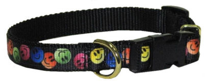 OPEN BOX ITEM: Ronmar Adjustable Nylon Dog Collar & Leash - Smiley Faces