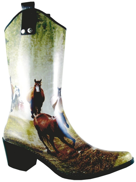 Smoky Mountain Women's Running Horse Rubber Boot - High Heel