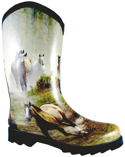 Smoky Mountain Women's Running Horse Rubber Boot - Wide Calf