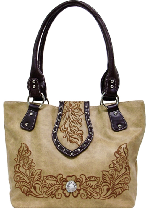 Floral-embroidered Handbag with Flap