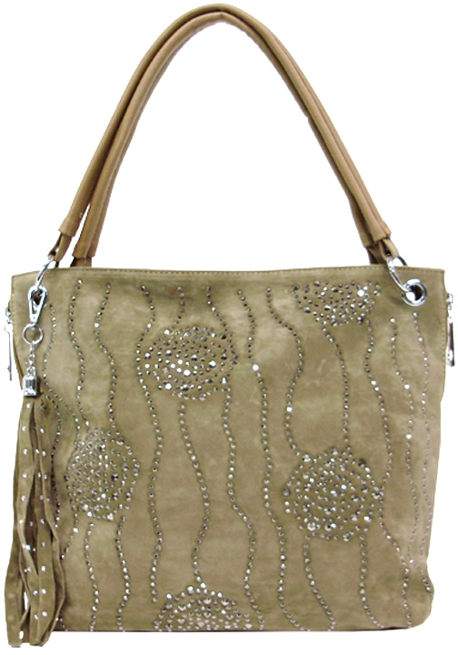 Studded Swirls Faux Suede Handbag