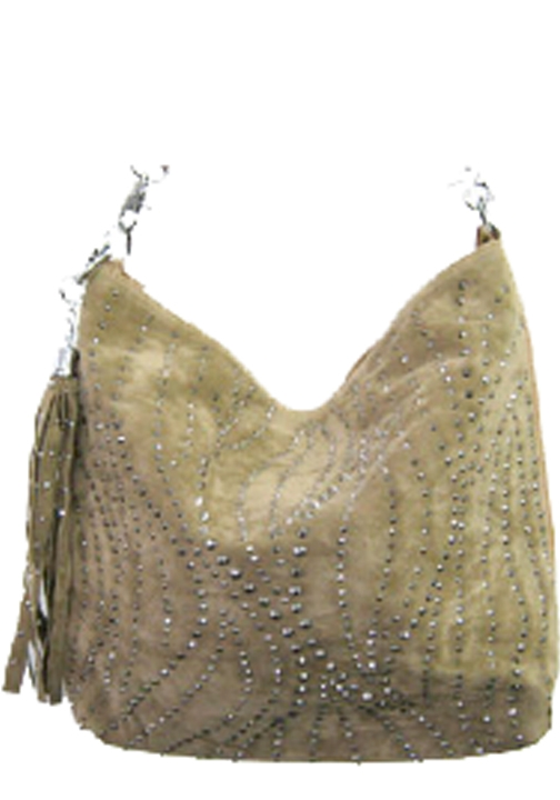 Small Studded Swirls Faux Suede Handbag