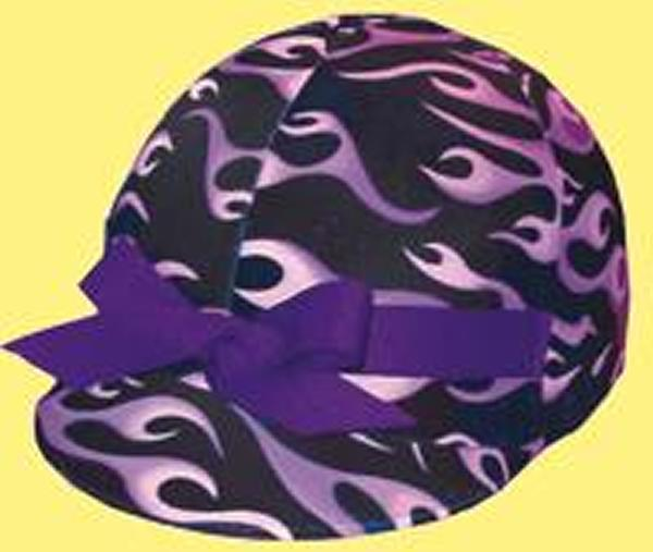Helmet Helpers Pocket Helmet Cover - Purple Flames Print