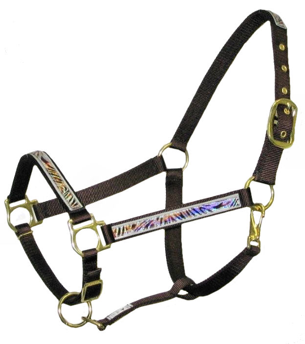 Ronmar Nylon Halter with Snap - Tiger on Ice Holographic