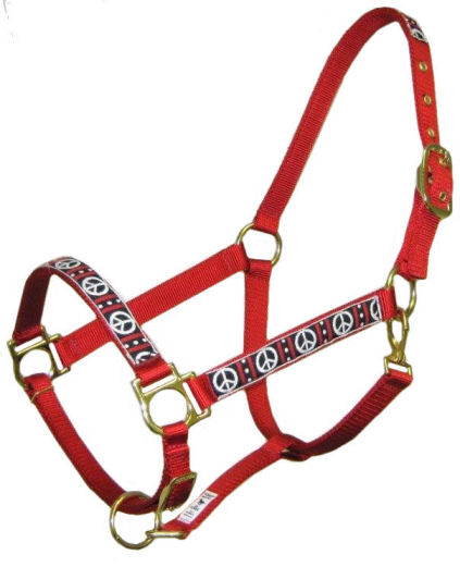 Ronmar Nylon Halter - Leather Crown/Double Buckle - Woodstock Peace