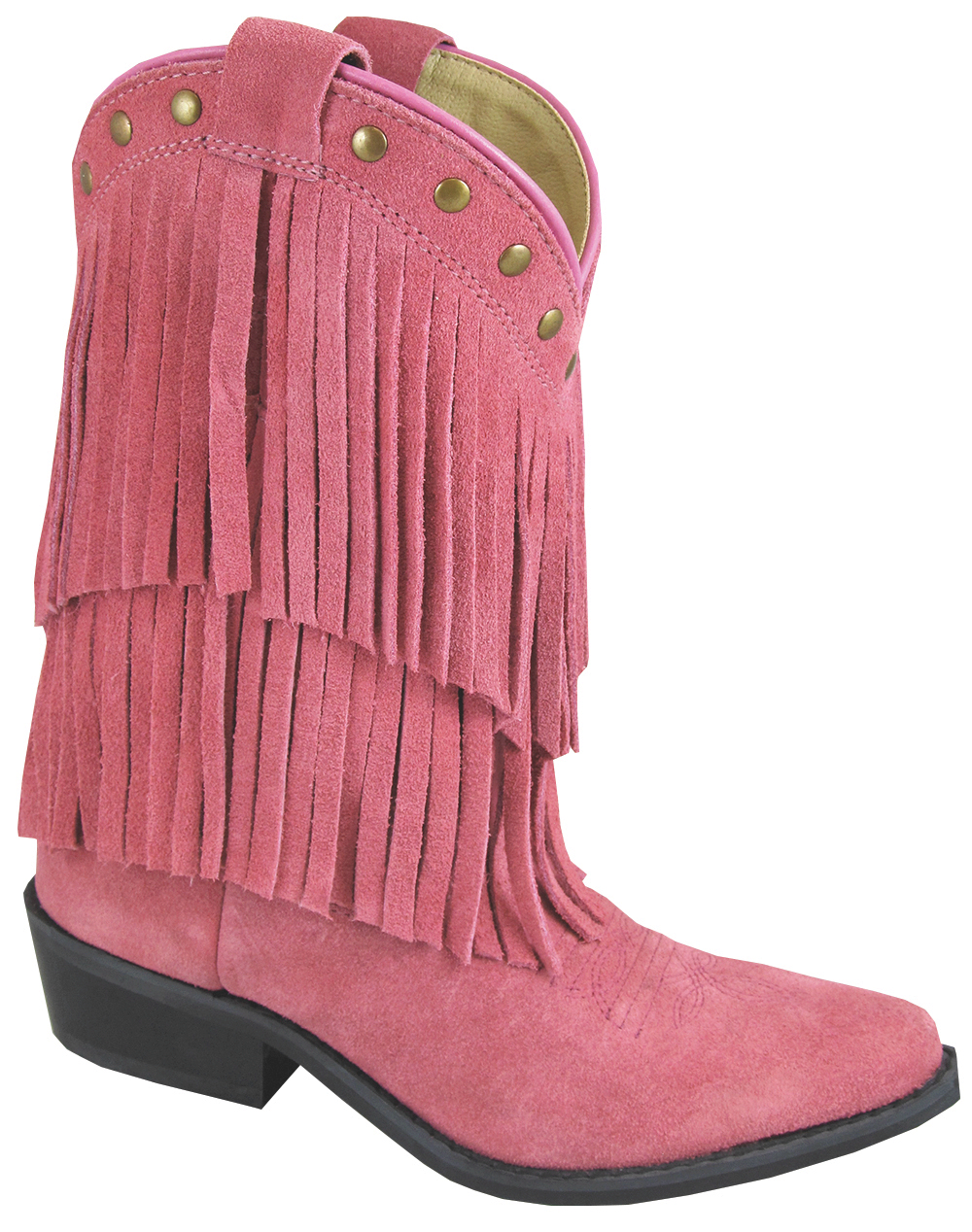 Smoky Mountain Child's Wisteria Double Fringe Leather Boots -Pink 3 R Pink