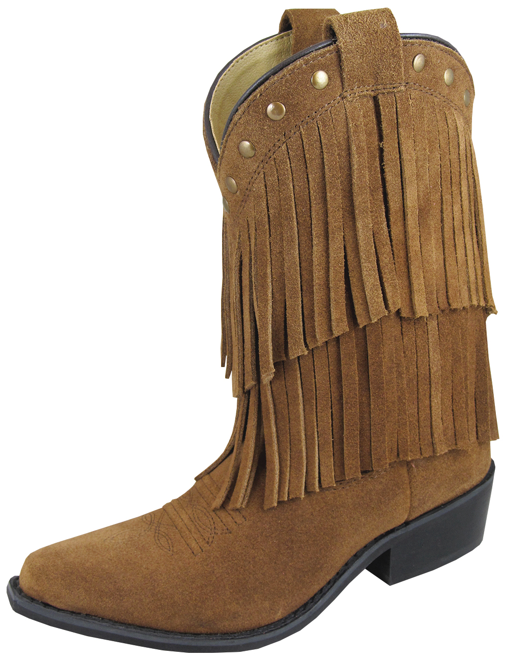 Smoky Mountain Child's Wisteria Double Fringe Leather Boots - Brown 1 R Brown