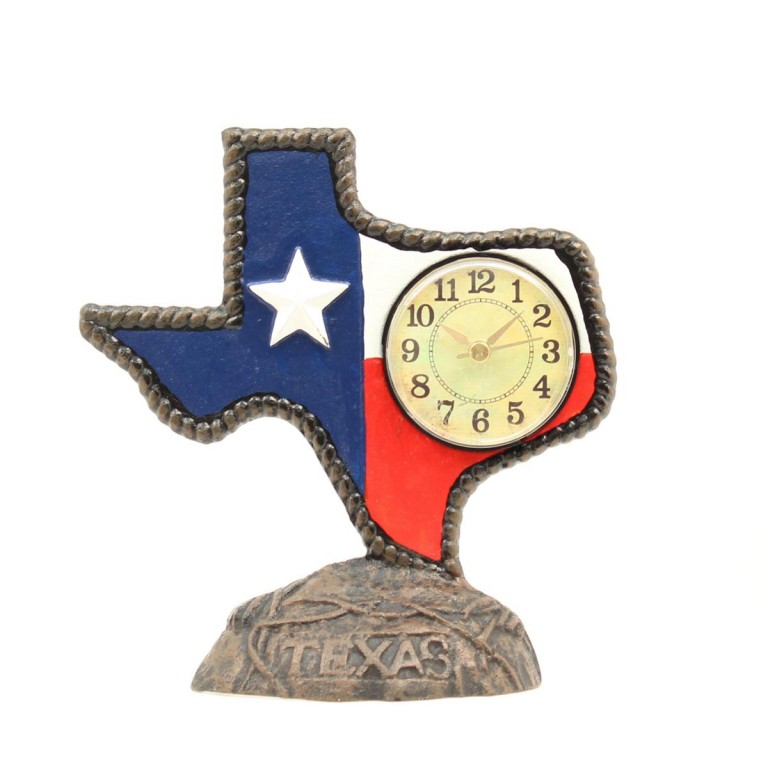 Western moments texas cast iron desk clock for Western wall clocks for sale